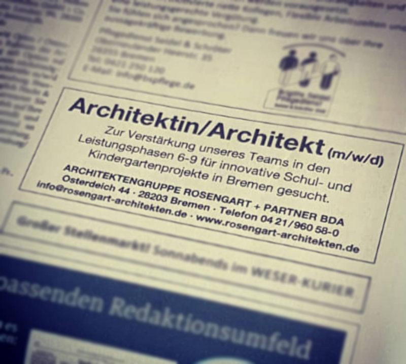 Architektin/ Architekt gesucht